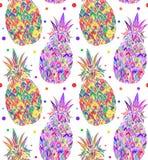 无缝的乱画纹理用流行艺术菠萝 库存例证