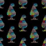 无缝的五颜六色的佩兹利有黑背景 库存例证