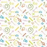 无缝的五颜六色的几何抽象线型传染媒介样式 库存图片