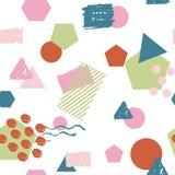 无缝的五颜六色的几何样式背景由孟菲斯样式启发了 库存图片