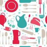无缝的五颜六色的厨房样式 库存图片