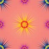 无缝的五颜六色的太阳样式居住的珊瑚背景 库存例证