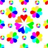 无缝的五颜六色的心脏样式 华伦泰` s日背景 库存例证