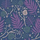 无缝的五颜六色的手拉的花卉样式背景 免版税库存图片