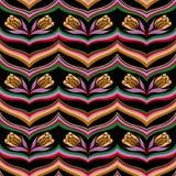 无缝的五颜六色的摘要波浪花卉样式 库存例证