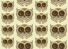 无缝的五颜六色的猫头鹰模式 库存图片