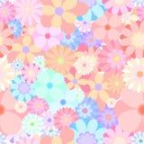 无缝的五颜六色的花开花的混杂的人群样式背景vect 免版税库存图片