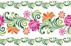无缝的五颜六色的花梢花卉边界 向量例证