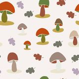 无缝的五颜六色的蘑菇和叶子传染媒介样式 库存例证