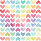 无缝的五颜六色的水彩被绘的心脏样式 免版税库存图片