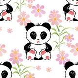 无缝的亚洲熊猫哄骗例证背景样式 库存图片