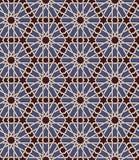 无缝的伊斯兰教的摩洛哥样式 阿拉伯几何装饰品 回教纹理 重复背景的葡萄酒 传染媒介蓝色 库存例证