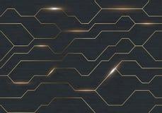 无缝的传染媒介未来派黑暗的铁techno纹理 在掠过的黑金属背景的金黄抽象电子能量线 次幂 向量例证
