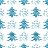 无缝的传染媒介样式冬天云杉 向量例证