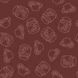无缝的传染媒介样式用茶用在bordo的柠檬和樱桃果酱 免版税库存照片