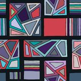 无缝的传染媒介样式,排行了与菱形,三角,线的几何背景 装饰的,墙纸,包装,wrappin印刷品 向量例证