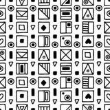无缝的传染媒介样式,用不同的手拉的标志的黑白背景,装饰乱画摆正 对称逗人喜爱 皇族释放例证