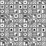 无缝的传染媒介样式,用不同的手拉的标志的黑白背景,装饰乱画摆正 对称逗人喜爱 库存例证
