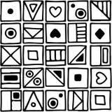 无缝的传染媒介样式,用不同的手拉的标志的黑白背景,装饰乱画摆正 对称逗人喜爱 向量例证