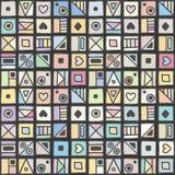 无缝的传染媒介样式,用不同的手拉的标志,装饰乱画正方形的五颜六色的淡色背景 对称逗人喜爱 库存例证