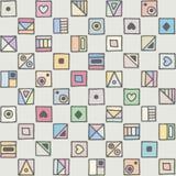 无缝的传染媒介样式,用不同的手拉的标志,装饰乱画正方形的五颜六色的淡色背景 对称逗人喜爱 向量例证