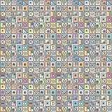 无缝的传染媒介样式,用不同的手拉的标志,装饰乱画正方形的五颜六色的背景 对称逗人喜爱的orname 向量例证