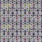 无缝的传染媒介样式,用不同的手拉的标志,装饰乱画正方形的五颜六色的背景 对称逗人喜爱的orname 库存例证