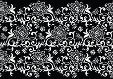 无缝的传染媒介黑白花卉边界 免版税库存图片
