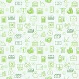 无缝的传染媒介墙纸或背景金钱、财务和Inv 免版税库存照片