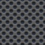无缝的传染媒介墙纸穿孔灰色金属片 免版税库存图片