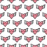 无缝的传染媒介心脏样式为情人节 与翼、微笑和眼睛的逗人喜爱的心脏 免版税库存照片