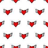无缝的传染媒介心脏样式为情人节 与翼的逗人喜爱的心脏 免版税库存照片