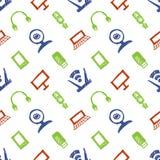 无缝的传染媒介样式、五颜六色的背景与显示器,笔记本、路由器、usb和话筒 手略图 库存照片