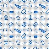 无缝的传染媒介样式、背景显示器、笔记本、路由器、usb和话筒在方格的背景 免版税库存图片