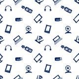 无缝的传染媒介样式、背景显示器、笔记本、路由器、usb和话筒在白色背景 免版税库存图片