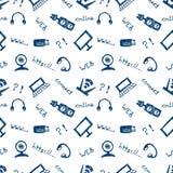 无缝的传染媒介样式、背景显示器、笔记本、路由器、usb和话筒在白色背景 库存图片