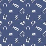 无缝的传染媒介样式、背景显示器、笔记本、路由器、usb和话筒在蓝色背景 库存图片