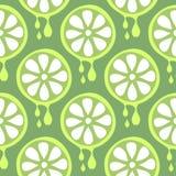 无缝的传染媒介样式用果子 与特写镜头石灰的对称背景在绿色背景 图库摄影