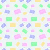 无缝的传染媒介样式,与信件的轻的淡色五颜六色的背景 库存照片