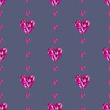 无缝的传染媒介样式,与明亮的桃红色宝石的对称背景以心脏的形式 免版税库存图片