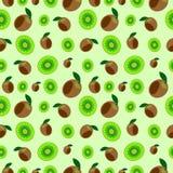 无缝的传染媒介样式,明亮的果子混乱背景与猕猴桃,整个和半结束浅绿色的背景 库存例证