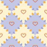 无缝的传染媒介样式,淡色蓝色和黄色几何背景与心脏 库存照片