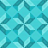 无缝的传染媒介样式,绿松石蓝绿色,方形的马赛克树荫  图库摄影
