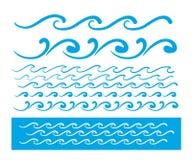 无缝的传染媒介蓝色波浪线样式 免版税库存照片