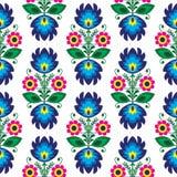 无缝的传统花卉波兰样式-种族背景 免版税库存图片