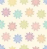 无缝的假日庆祝事件的样式五颜六色的烟花 库存图片