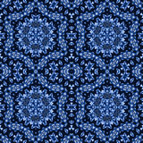 无缝的六角形装饰深蓝和黑 库存图片