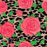 无缝的典雅的在豹子皮肤backgr的葡萄酒花卉样式 向量例证