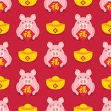 无缝的农历新年 庆祝年猪 图库摄影