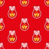 无缝的农历新年 庆祝年猪 免版税图库摄影